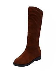 Women's Boots Comfort Combat Boots Suede Spring Casual Walking Comfort Combat Boots Split Joint Flat Heel Black Brown Burgundy Flat