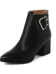 Women's Zipper Pointed Closed Toe Kitten Heels Low Top Boots