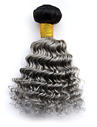 1pc/lot Peruvian Ombre Deep Wave Hair Weft Weave 1b/grey Deep Curly Virgin Human Hair Extension