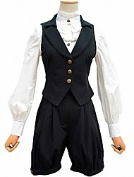 Corset Sweet Lolita Lolita Cosplay Lolita Dress Black Solid Sleeveless Short Length Dress For Women Terylene