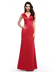 TS Couture Formal Evening Dress - Furcal A-line V-neck Floor-length Satin with Split Front