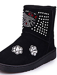 Girl's Boots Fall Winter Comfort Fabric Casual Dress Flat Heel Others Black Red Walking