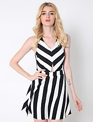 1287 Women's Casual/Daily / Club Sexy A Line DressStriped V Neck Above Knee Sleeveless Black Cotton / Polyester
