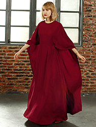 MASKED QUEEN   Women's Going out Simple Loose DressSolid Round Neck Maxi  Sleeve Red Polyester
