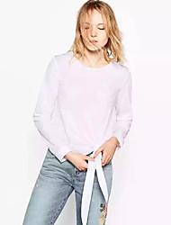Damen Stickerei Einfach Ausgehen T-shirt,Rundhalsausschnitt Sommer Langarm Weiß Baumwolle / Polyester Mittel