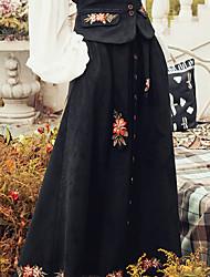 Aporia.As Women's Swing Print SkirtsCasual/Daily Mid Rise Midi Button Rayon Micro-elastic Fall-MZ02081