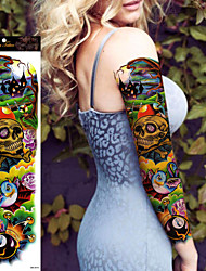 1Pcs Halloween Colorful Skull Large Temporary Tattoos Full Arm  Cool Tattoo  Designs Flash Tattoo Stickers