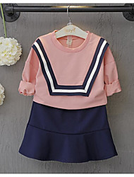 Girl's Going out Solid Clothing SetCotton Spring / Fall Pink