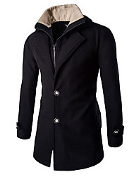 Men's Solid Casual / Work CoatCotton / Polyester Long Sleeve-Black / Gray hot sale brand fashion