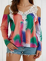 Damen Druck Einfach Ausgehen / Lässig/Alltäglich T-shirt,Rundhalsausschnitt Alle Saisons Langarm Weiß Baumwolle Mittel