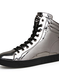 Men's Boots Spring / Fall Comfort Fabric Casual Flat Heel Black / Silver Sneaker