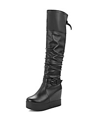 Women's High Heels Soft Material High Top Solid Pull On Boots