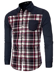 Men's Casual/Daily Simple Spring / Fall ShirtPatchwork Shirt Collar Long Sleeve Cotton Medium hot sale