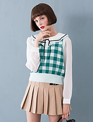 Damen Kurz Pullover-Ausgehen Niedlich Verziert Rot / Grün V-Ausschnitt Ärmellos Kunstseide Herbst Mittel Mikro-elastisch