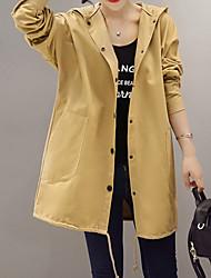 Trench Femme,Imprimé Sortie simple Manches Longues Capuche Blanc / Noir / Vert / Orange Coton / Polyester Moyen Automne