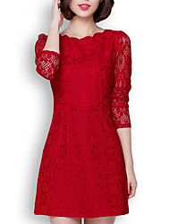 Women's Plus Size / Casual/Daily Simple / Street chic Sheath DressSolid Lace Slim Round Neck Above Knee Long Sleeve