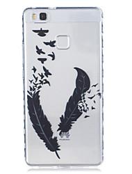 Pour huawei p9 p9 plus motif de plumes matériel tpu boîtier de téléphone hautement transparent pour huawei p9 p9 plus y5ii y6ii