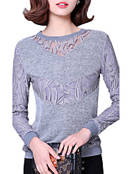 Winter Fall Women's Go out Fashion Wild Plus velvet Splicing V Neck Long Sleeve Lace Blouse
