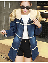 Sign new thicker coat women long section of lamb's wool denim cotton Korean version of Slim fur collar coat