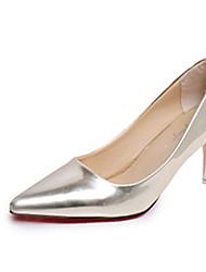 Damen-High Heels-Lässig-PU-Blockabsatz-Komfort-Silber Braun Golden
