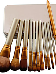 12 Makeup Brushes Set Synthetic Hair Professional / Portable Wood Face / Eye / Lip