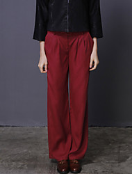 ADEAST Women's Solid Red Loose PantsVintage / Simple Fall / Winter