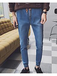 Herren Skinny Jeans Hose-Lässig/Alltäglich Einfach einfarbig Mittlere Hüfthöhe Reisverschluss Baumwolle Micro-elastisch Winter