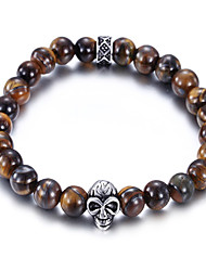 Kalen New Punk Jewelry Stainless Steel Skull Charm Bracelet Brown Fake Tiger Eyes Beads Strand Bracelets Men's Gothic Cool Gifts