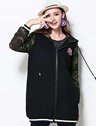 MEIDONGTAI  Women's Plus Size / Casual/Daily Vintage CoatSolid Hooded Long Sleeve Winter Black Cotton Medium