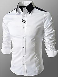 Men's Going out / Formal / Work Simple / Cute / Street chic All Seasons Shirt,Solid Shirt Collar Long Sleeve White / Gray Cotton Medium