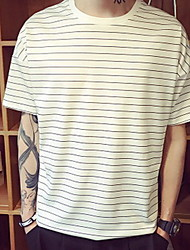 Men's Going out Simple Summer Tank Top,Striped Round Neck Long Sleeve White / Black Cotton Medium