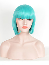30cm Green Fashion Silky Straight Short Cut Bob Wigs With Baby Hair Heat Resistant Synthetic Wig LadyGaGa Star Cosplay Hairstyle Women Wearing Wig