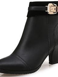 Mujer-Tacón Stiletto-Gladiador-Botas-Oficina y Trabajo / Vestido / Casual / Fiesta y Noche-Cuero-Negro / Bermellón