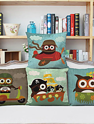 Set of 4 Creative Cartoon Animal Pillow Series Brave Owl Composite Material Linen Pillow