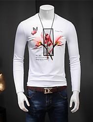 Tee-shirt Hommes,Imprimé Sortie simple Manches Longues Col Arrondi Blanc Coton