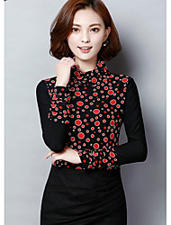 Sign lace shirt female autumn and winter high-necked long-sleeved Korean yards plus thick velvet wave point gauze shirt