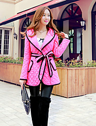 Women's Bow Pink Doll®Casual Party Fashion Hooded Belt Included Long Sleeve Coat