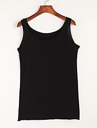 Women's Casual/Daily Simple Summer Tank Top,Solid Round Neck Sleeveless Polyester Thin