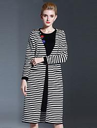 Longue Cardigan Femme Décontracté / Quotidien simple,Rayé Blanc Col Arrondi Manches Longues Coton Automne Hiver Moyen Non Elastique
