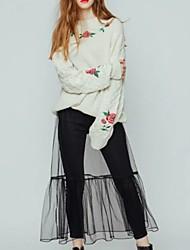 Damen Standard Pullover-Ausgehen Lässig/Alltäglich Einfach Niedlich Stickerei Rosa Beige Schwarz Rundhalsausschnitt LangarmKunstseide