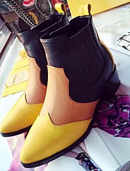 Women's Boots Winter Others Nappa Leather Casual Chunky Heel Split Joint Black Yellow Others