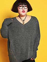 Damen Standard Pullover-Ausgehen Übergröße Einfach Solide Grau V-Ausschnitt Langarm Acryl Nylon Herbst Winter Dick Dehnbar