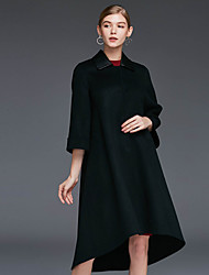 Xuanyan Women's Casual/Daily Simple CoatSolid Shirt Collar  Sleeve Winter Red / Black Wool