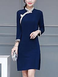 Feminino Tubinho Vestido, Para Noite Vintage Sólido Colarinho Chinês Acima do Joelho Manga Longa Azul Lã / Poliéster PrimaveraCintura