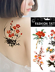 5Pcs Watercolor Peony Flower Wintersweet Lady Body Art Painting Waterproof Tattoo Sticker Hot