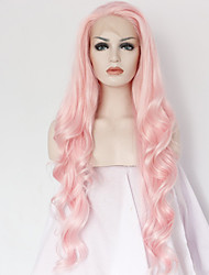 Best Natural Looking Long Pink Synthetic Wavy Lace Front Wig For White Women Cheap Good Quality Natural Wavy Wigs Heat Resistant
