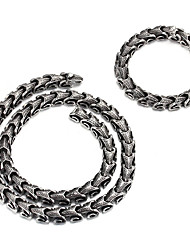 Kalen New Fashion Men's Jewelry Set 316 Stainless Steel Dragon Bone Link Chain Bracelet And Necklace Set Cool Personalised Party Pub Accessory