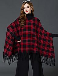 Для женщин На каждый день Уличный стиль Длинный Пуловер В клетку,Розовый Красный Черный Хомут Длинный рукав Искусственный шёлк АкрилОсень