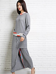 Women's Going out Vintage Sweater Dress,Solid Crew Neck Midi Long Sleeve Red / White / Gray Polyester Spring High Rise Micro-elastic