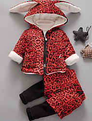 Girl Casual/Daily Leopard Sets,Cotton Winter / Spring / Fall Long Sleeve Clothing Set